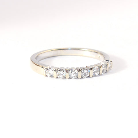 14kt Bar set 7 Diamond Band