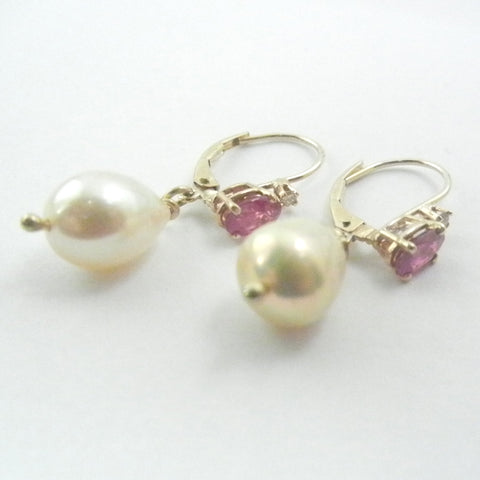 14kt Ruby and Diamond Leverbacks with Baroque Pearl Dangle