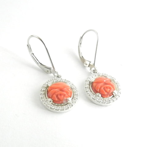Moissante and Coral Rose Bud Dangle Earrings