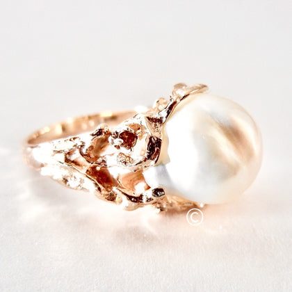 Baroque White Pearl set in a 14kt Organic Ring with Diamonds