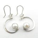 Silver Quarter Moon Dangle Earrings with Pearl