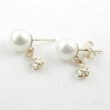 White Pearls Earrings With a Diamond Dangle