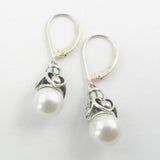 Two Tone Dangle Earrings With Akoya Pearls