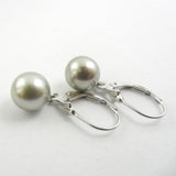 Custom design silver leverback earrings featuring grey tahitian pearls.