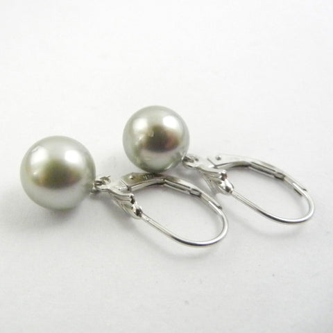 8.5mm Grey Tahitian Pearls on 14kt Leverbacks