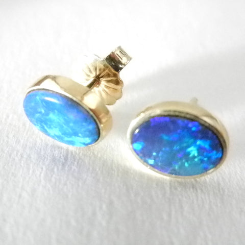 14kt Opal Bezel Set Earrings