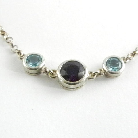 Silver Bezel set Necklace with Amethyst and Apatite