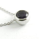 Silver Necklace with Bezel Set Ametyst