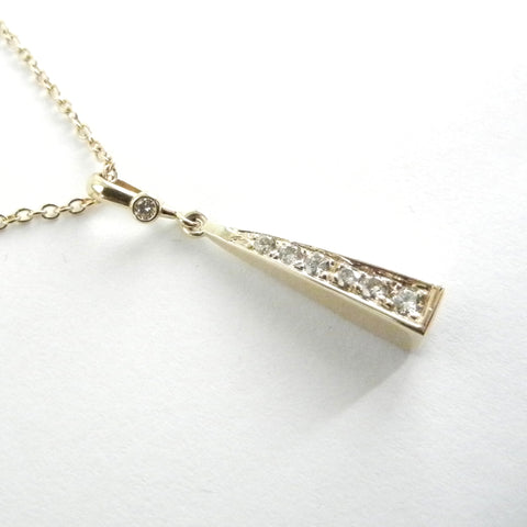 14kt Gold Pyramid Pendant with Diamonds