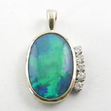14ky Opal Pendant with .10CTW Diamonds