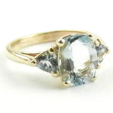 Aquamarine 3 stone Ring
