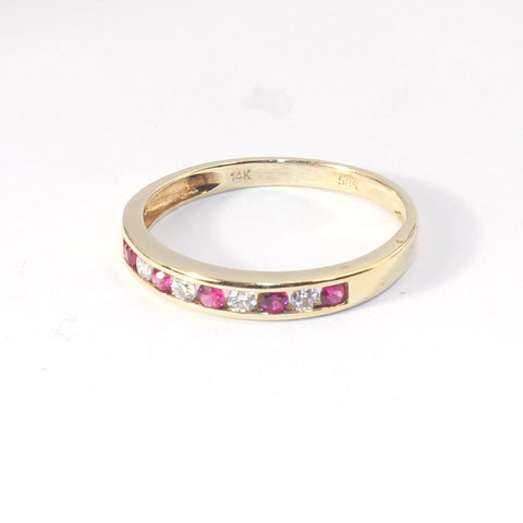 14kt Diamond and Ruby Stackable Ring