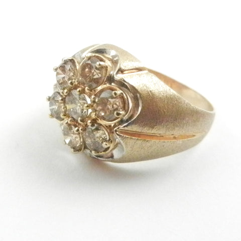 14KY Cognac Diamond Cluster Ring