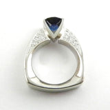 Platinum and Diamond Ring with Sapphire Center
