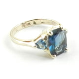 London Blue Topaz 3 Stone Ring