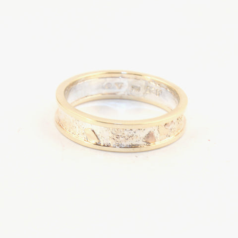 4mm Moonscape ring with 14kt Outer Bands