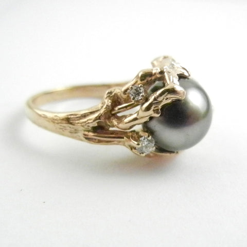 Fancy Tahitian Pearl set in 14kt Yellow Gold Organic Setting w/Diamonds