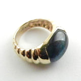 Blue Tigers Eye Cabochon Set in 14kt Gold