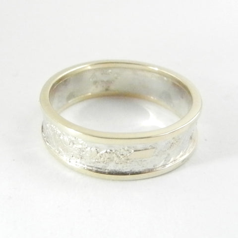 6mm Moonscape Ring with 14kt Outer Bands