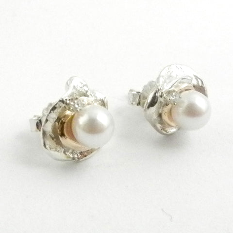 Custom design 14K gold and silver earrings with Akoya pearls and diamonds.