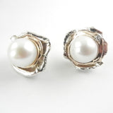 Grand Orbit White Pearl Earrings