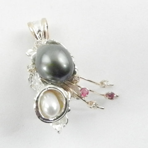 Orbit Pendant with 2 Pearls 5 Diamonds and 2 Ruby