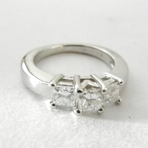 Platinum Three Diamond Engagement Ring
