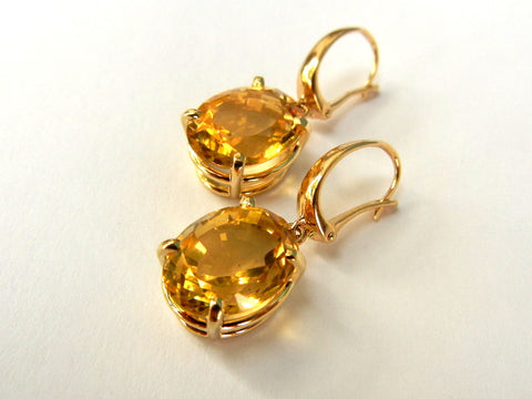 Citrine an d14KY Earrings with Leverback