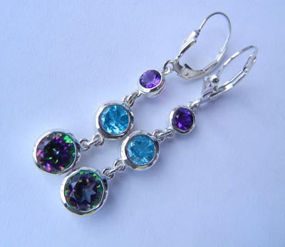 Three stone s/s drop earring