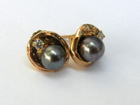 Tahitian Pearl, 14K Gold, and Diamond Earrings