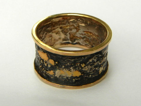 Reticulated Silver and Gold Ring