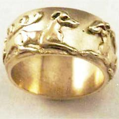 14Kt Yellow Gold Twin Hounds