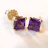 14 kt Yellow Gold Stud Earrings with Princess Cut Amethyst