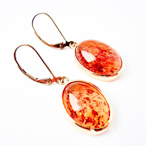 14kt Bezel Set Oval Amber Drop Earrings