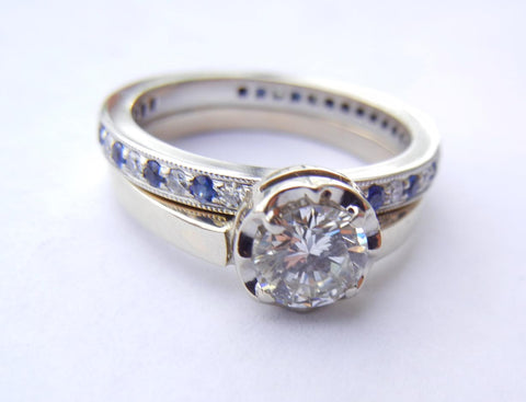 Diamond & Sapphire Wedding Set