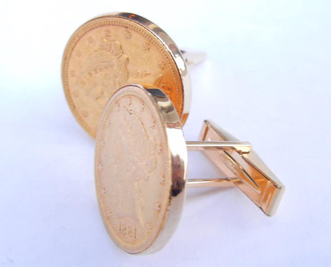 Gold Coin Cuff-links