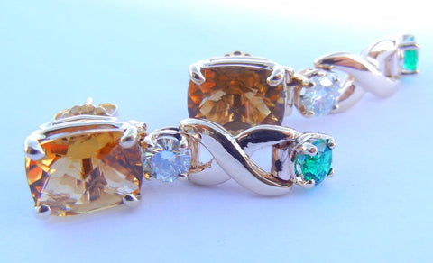 Citrine, Diamond & Emerald Earrings