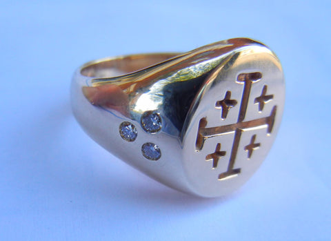 Engraved Cross & Diamond Signet Ring