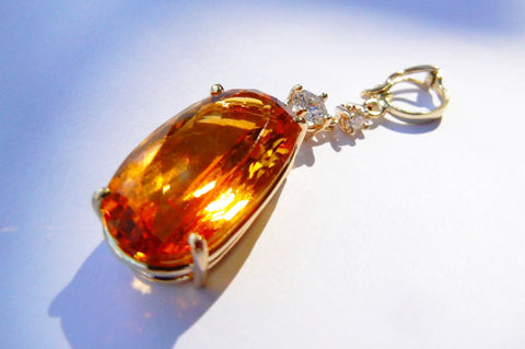 Citrine & Diamond Pendant Pearl Enhancer