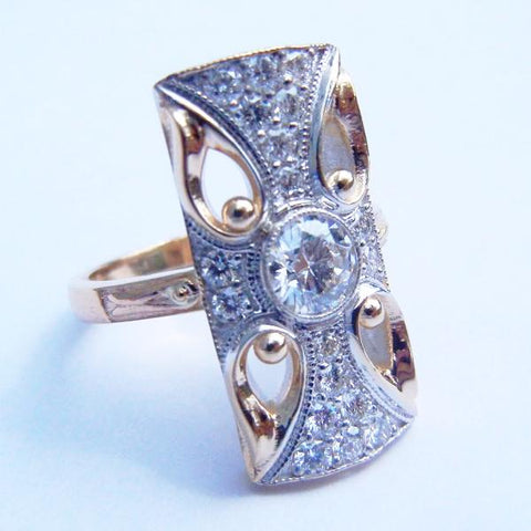 Art Deco Style Gold & Diamond Ring