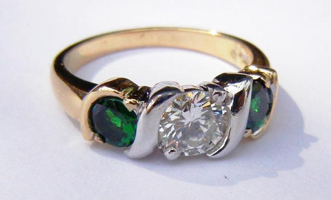 Gold Two-Tone Tsavorite & Diamond Ring