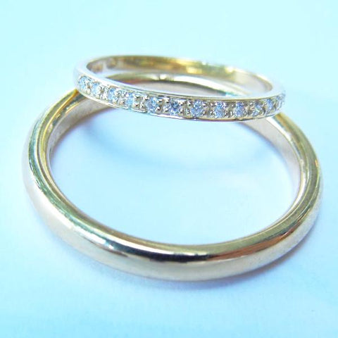 14kt Yellow Gold His & Hers Wedding Band Set