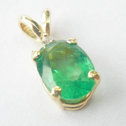 14kt Yellow Gold Emerald Pendant