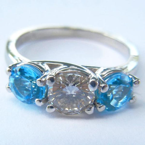 14kt White Gold Cognac Diamond & Blue Topaz Ring