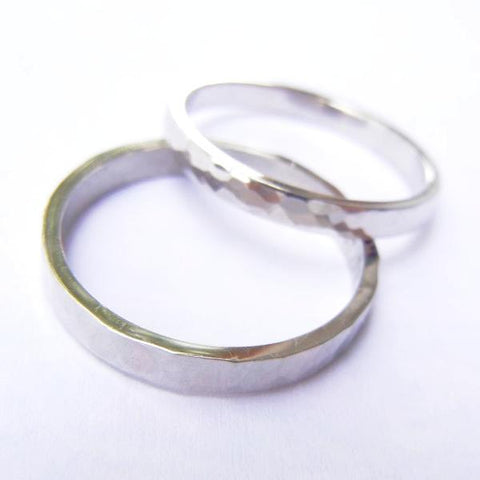 14kt White Gold Wedding Band Set