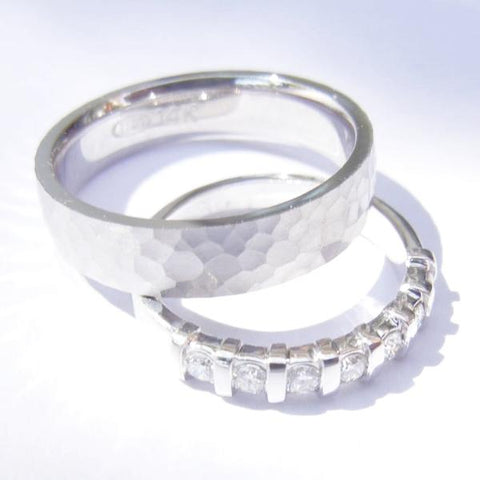 14kt White Gold & Diamond Hammered Wedding Band Set