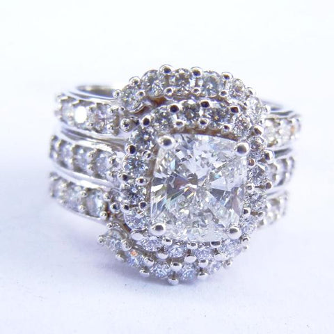 14kt White Gold & Diamond Wedding Set w/ Enhancer