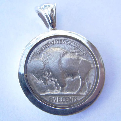 Sterling Silver Buffalo Nickle Swivel Pendant