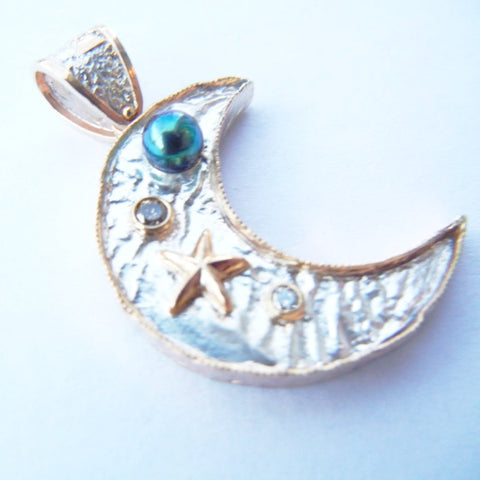 Reticulated Silver & 14kt Gold Sea Motif Pendant