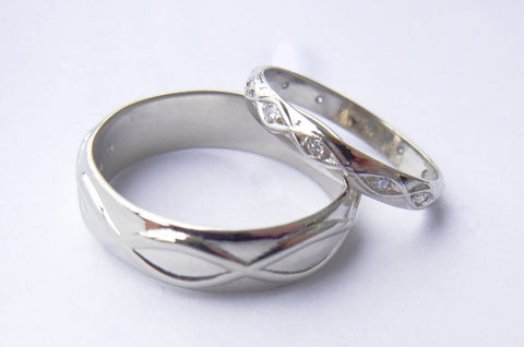 14kt White Gold His & Hers Coordinating Wedding Bands